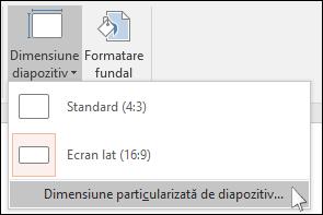 Afișează caseta de dialog în powerpoint în cazul în care Selectați o dimensiune particularizată de diapozitiv