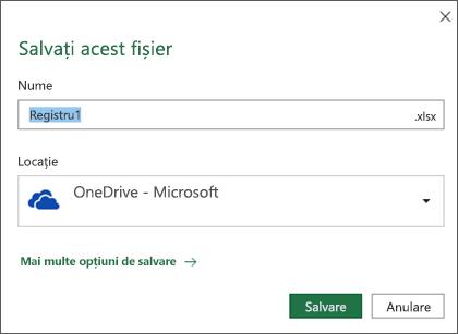 Dialogul Salvare în Microsoft Excel pentru Office 365