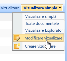 Meniul de vizualizare SharePoint 2007 cu modificare vizualizare evidențiată