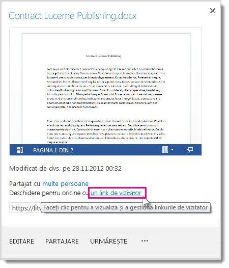 Caseta de dialog Proprietăți arătând faptul că un document a fost partajat cu un link de invitat.