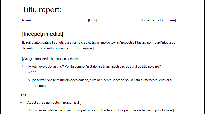 screenshot of a simple student report