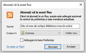 Fluxuri RSS abonarea dialog unde puteți să modificați foldere pentru pentru a ajunge