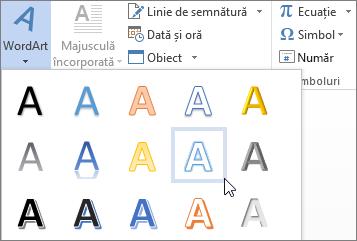Alegerea unei opțiuni de WordArt