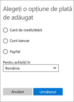 Meniul Alegeți o opțiune de plată cu celelalte opțiuni disponibile pentru Statele Unite.
