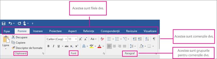 O imagine care afișează părțile unei panglici: file, comenzi, grupurile de comenzi
