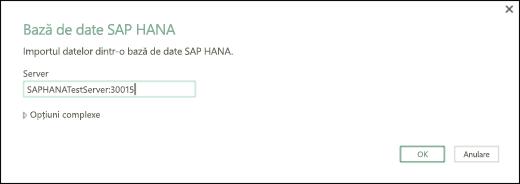 Caseta de dialog SAP HANA bază de date