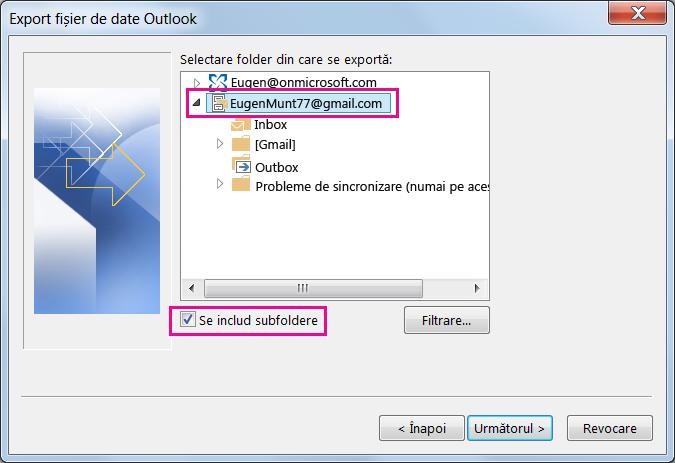 Alegeți numele contul Gmail pe care doriți să îl importați