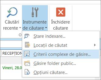 Criterii complexe de găsire sub Instrumente de căutare