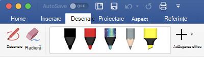 Stilouri și instrumente de evidențiere pe fila desenare din Office 365 pentru Mac