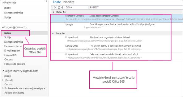 După ce importați e-mailul în cutia poștală Office 365, acesta va apărea în două locuri.