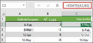 Utilizați EDATE pentru a adăuga sau a scădea luni dintr-o dată. În acest caz, = EDATE (a2, B2) unde a2 este o dată, iar B2 are numărul de luni de adăugat sau de scăzut.