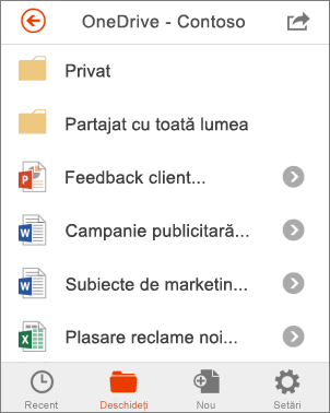 Fișiere OneDrive din Office Mobile