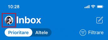 Imagine a listei de mesaje în Outlook pentru iOS.