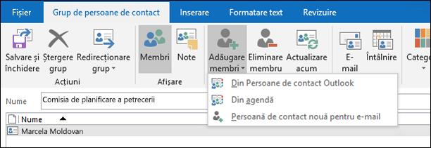 Selectați Adăugare membri pentru a adăuga la grupul de persoane de contact.