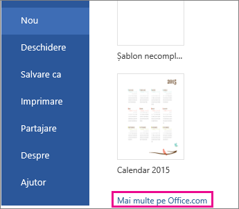faceți clic pe Mai multe pe Office.com