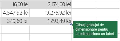 Glisați ghidajul de redimensionare pentru a redimensiona tabelul