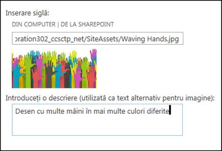 Caseta de dialog cu sigla și titlul noului site SharePoint Online, arătând cum se creează un text alternativ pentru imaginea de siglă