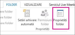 Proprietăți folder panglică