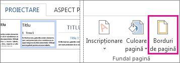 Butonul Borduri de pagină
