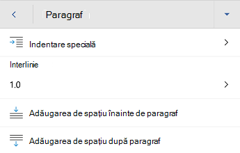 Meniul formatare paragraf Word pentru Android