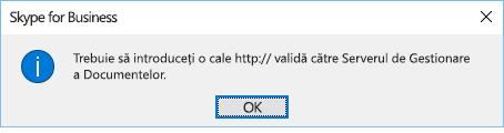 Mesaj de eroare afișat atunci când încercați să deschideți un fișier dintr-o altă locație decât OneDrive pentru business