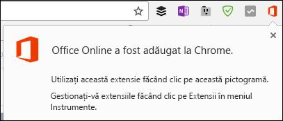 Chrome vă anunță că extensia Office Online a fost adăugat cu succes