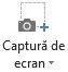 Butonul captură de ecran în fila înregistrare în PowerPoint 2016