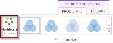 Opțiunea Modificare culori din grupul Stiluri SmartArt