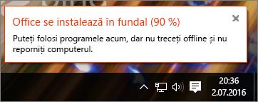 Casetă de dialog afișând instalarea Office blocată la 90 %