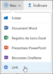 Adăugarea unui link la o bibliotecă de documente