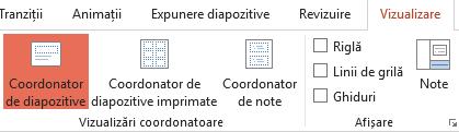 Aspectele de diapozitiv pot fi particularizate în vizualizarea Coordonator de diapozitive