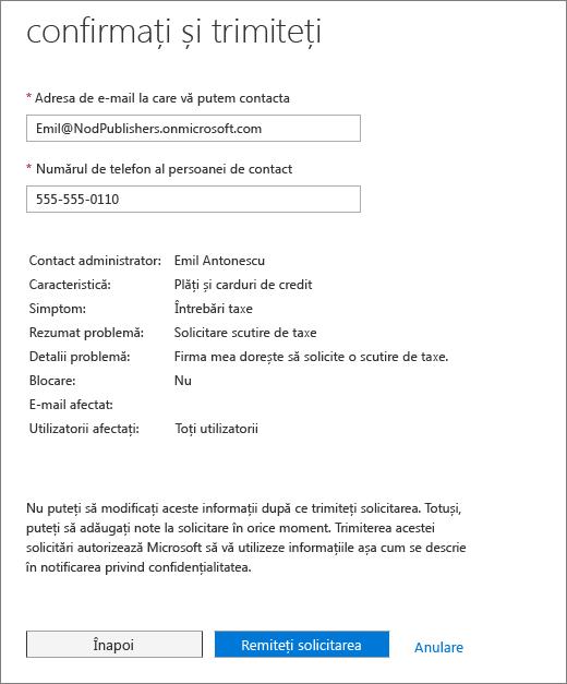 Confirmați și trimiteți pagina în Office 365 Admin Center serviciu solicitarea formular.