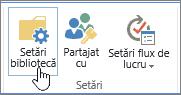 Setări de bibliotecă SharePoint butoanele de pe panglică