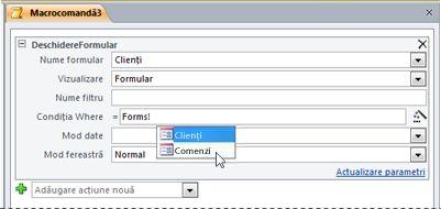 Utilizarea IntelliSense pentru a introduce o expresie