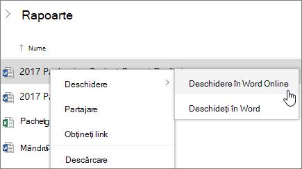 Deschide fișierul în Word Online în OneDrive