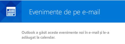 Outlook poate crea evenimente din mesajele de e-mail
