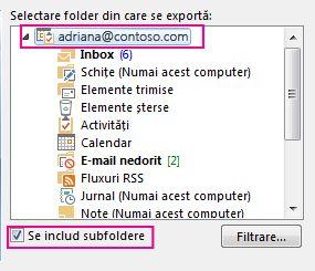 Caseta de dialog Export fișier de date Outlook cu folderul din partea de sus selectat și Se includ subfoldere bifată