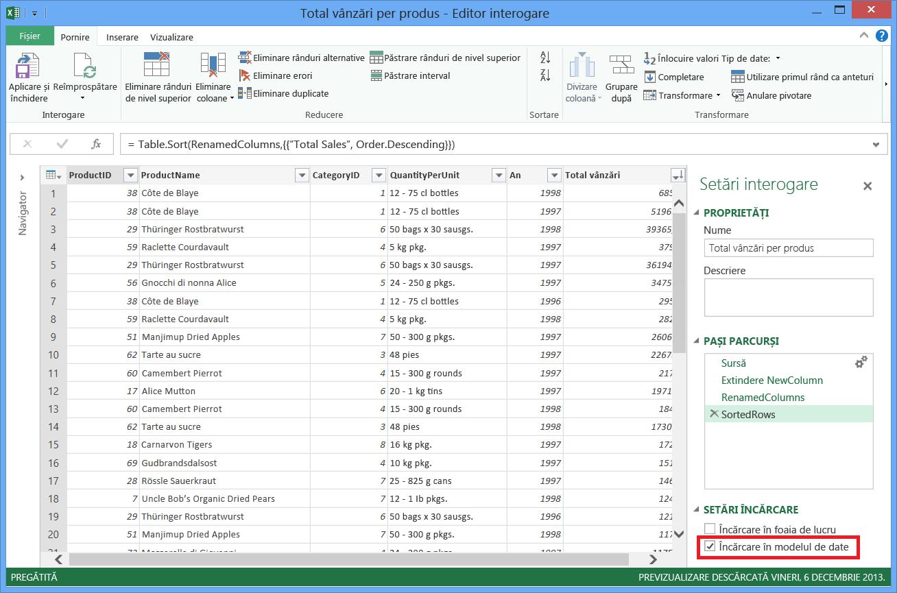 Încărcarea modelului de date Excel