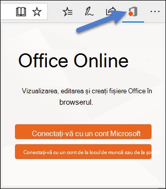 Dialog de conectare pentru extensia Office Online în marginea