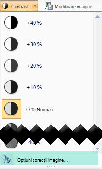 Pentru a fin reglarea cantitatea de contrast, selectați opțiunile de corecții imagine