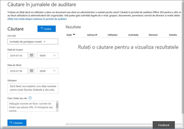 Raportul de activitate Office 365 filtrat pentru crearea de invitații