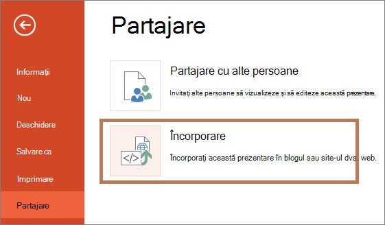 Încorporarea unei prezentări PowerPoint