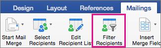 Faceți clic pentru a filtra lista de îmbinare a corespondenței