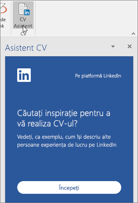 Pe fila revizuire, faceți clic pe asistent CV-ului. Dacă este prima dată pe care l-ați utilizat CV-ul asistent, faceți clic pe introducere.
