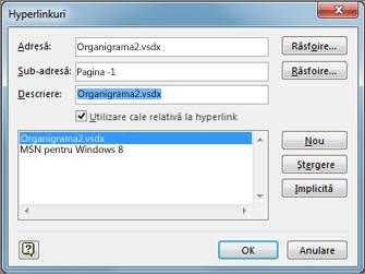 Caseta de dialog Editare hyperlinkuri