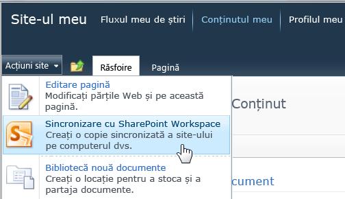Sincronizați comanda SharePoint Workspace din meniul acțiuni Site