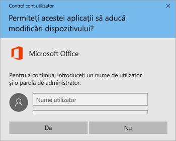 Captură de ecran afișând fereastra Control cont utilizator