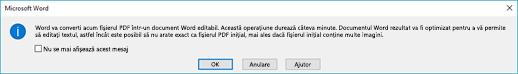 Word confirmă că acesta va încerca să rearanjare fișierul PDF pe care l-ați deschis.