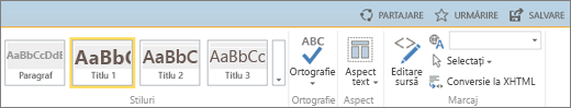Captură de ecran cu o secțiune a panglicii SharePoint Online, cu controalele Partajare, Urmărire și Salvare.