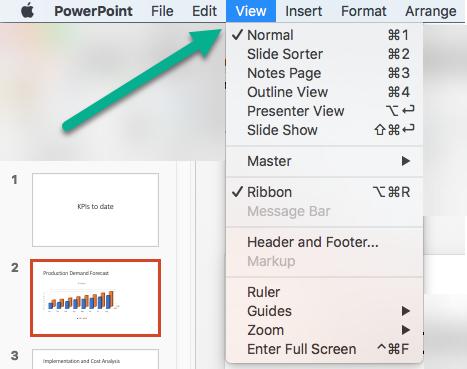 În meniul vizualizare din PowerPoint